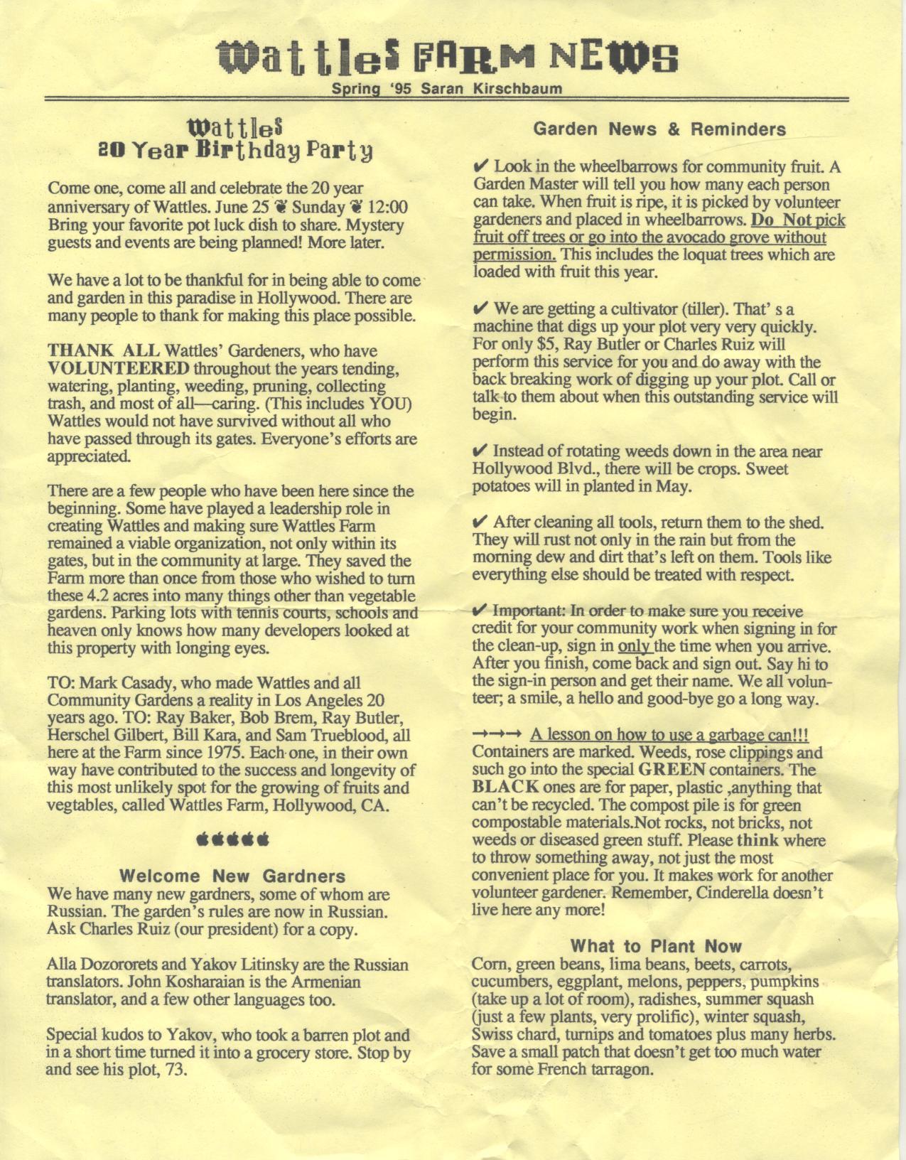 Wattles Newsletter Spring '95