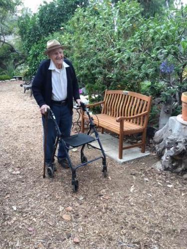 The arrival of the 105 year old birthday boy, Reggie Gooch.